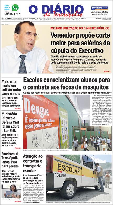 Dani Ferreira Capa O Diário de Teresópolis 24 de Fevereiro 2016