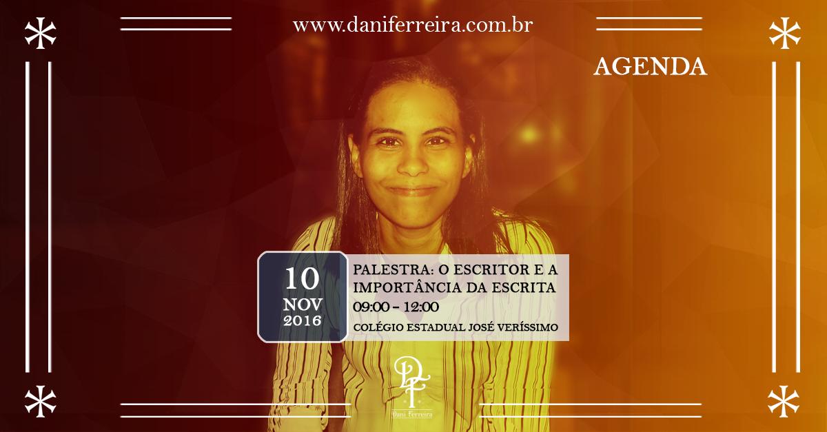 Imagem agenda escritora Dani Ferreira palestra Colegio estadual  José Veríssimo